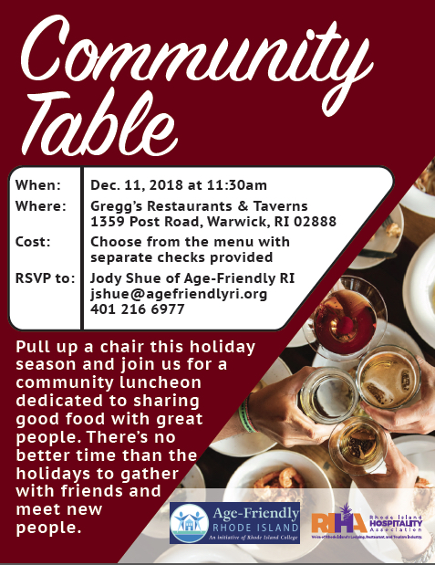 Age-Friendly: Community Table Holiday Luncheon, Dec. 11th