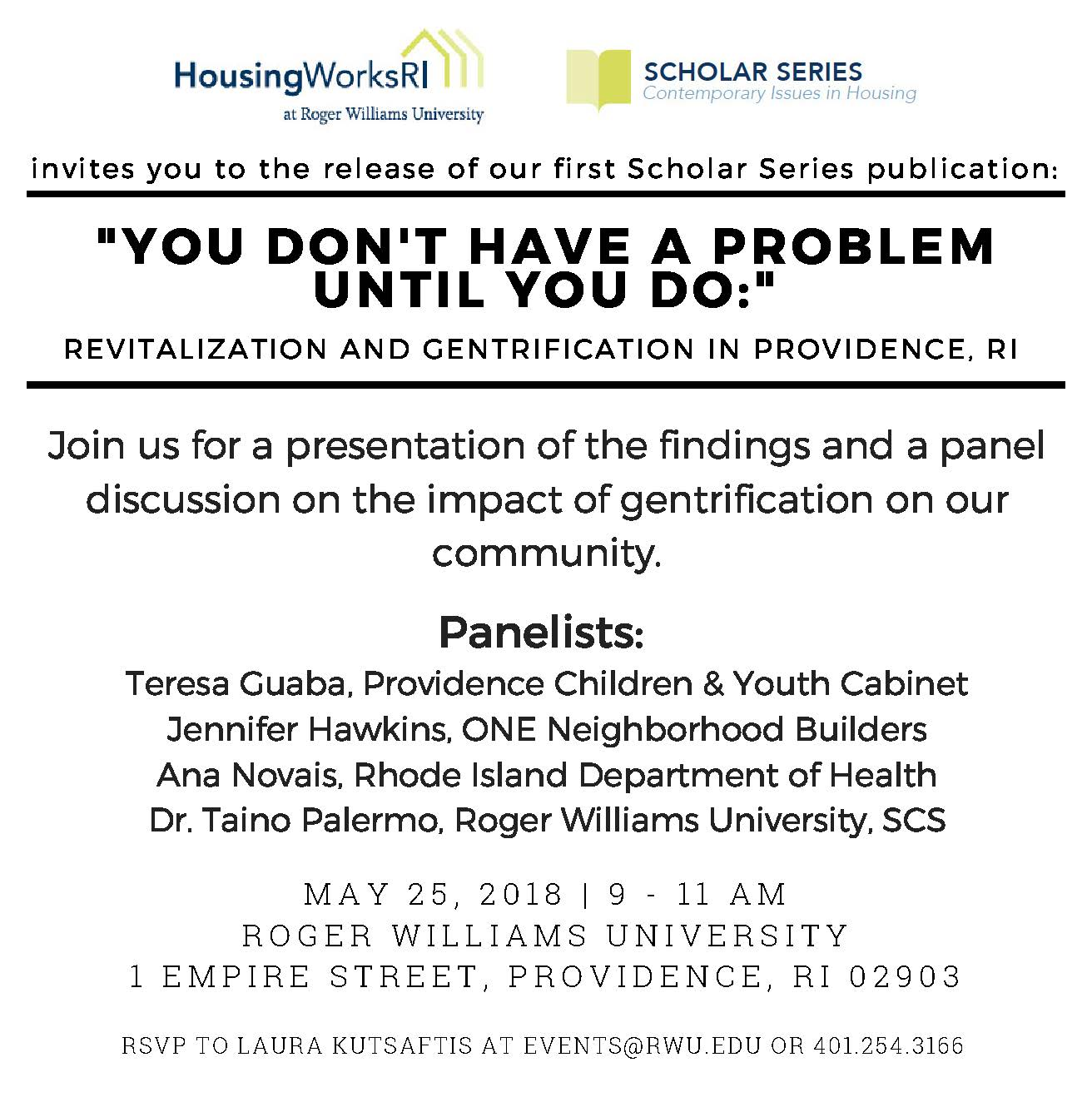 HWRI to Host Revitalization and Gentrification Forum on May 25th